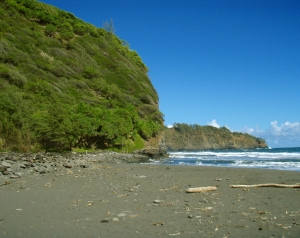 The Beach at Pololu Valley.  The Channel Here Between Hawaii and Maui Has The Third Highest Discharge of Water in the World, Behind the Bay of Fundy and the Straights of Magellan.  Because of the Unbelievable Ocean Currents This Generates, and Strong Rip Tides, We Do Not Recommend Swimming or Surfing at Pololu: Photo by Donnie MacGowan