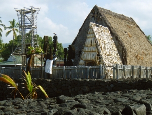 Ahu'ena Heiau Surrounded by its Ancient Stone Walls. Kailua Kona, Hawaii: Photo by Donnie MacgGawn