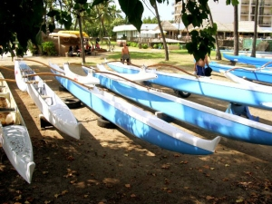 Canoes Parked at Kamakahonu Beach, Kailua Kona, Hawaii: Photo by Donnie MacGowan