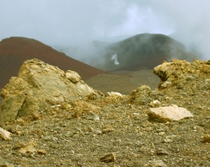 Cinder Cones and a Radio Telescope on Mauna Kea: Photo by Donald B. MacGowan