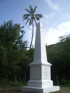 The Captain Cook Monument, Kealakekua Bay on the Kona Coast of Hawaii: Photo by Donnie MacGowan