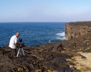Frank Burgess Filming at the End of Chain of Craters Road, Hawaii Volcanoes National Park: Photo by Donald B. MacGowan