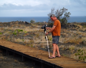 Frank Burgess Filming the Wiley Wild Petroglyphs at Pu'u Loa in Hawaii Volcanoes National Park: Photo by Donald B. MacGowan