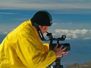 Eric Carr, Master Cameraman, Filming on Mauna Kea: Photo by Donnie MacGowan