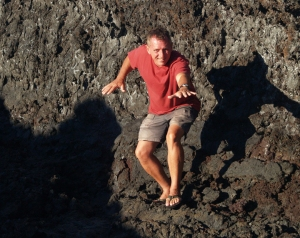 Frank Burgess lava surfing at Muliwai O Pele, Hawai Volcanoes National Park: Photo by Donnie MacGowan