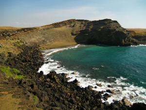 The Justly Famous Green Sand Beach at South Point, Hawaii: Photo by Donald B. MacGowan