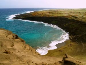 Looking down on the green Sand Beach at South Point Hawaii: Photo by Donald B. MacGowan