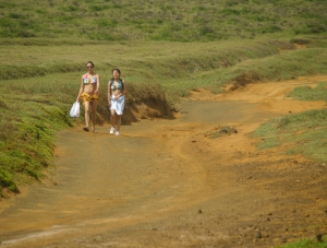 Hikers returning from the Green Sand Beach, South Point, Hawaii: Photo by Donnie MacGowan