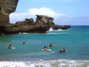 Boogie Boarders at the Green Sand Beach at South Point, Hawaii: Photo by Donald B. MacGowan