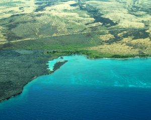 Aerial View of Kiholo Bay, Kohala Coast, Hawaii: Photo by Donnie MacGowan