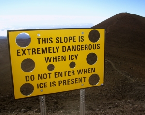Mauna Kea Icy Summit Warning: Photo by Donald B. MacGowan