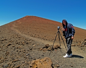 Justly Famous Videographer Frank Burgess at Mauna Kea Summit: Photo by Donnie MacGowan