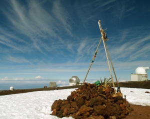 Superstition to Science; An Ancient Hawaiian Temple Shares The Summit With The Most Modern Astronomical Obsdervatories on Pu'u Weiku Summit, Mauna Kea Photo by Donald B MacGowan