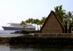 Worlds Collide: Queen Mary and A'huena Heiau, March 2006, Kona Hawaii: Photo by Donnie MacGowan