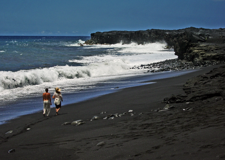 Green sand black sand white sand gray sand and piebald Black sand beach hawaii