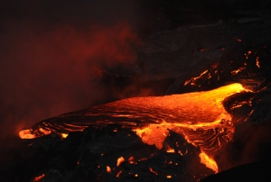 Near Kalapana, Hawaii, Lava from Kilauea Volcano flows into the Ocean: Photo by Donald B. MacGowan