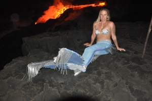 Strange things seen at the lava flow, Kalapana, Hawaii: Photo by Donald B MacGowan