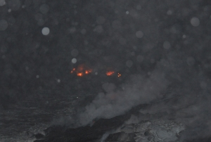Lava flows in the rain, Kalapana Hawaii August 2010: Photo by Donald B MacGowan