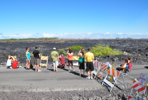This is about all you can see from the Kalapana Lava Viewing Area, August 2010: Photo by Donald B MacGowan